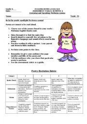 English Worksheet: Reciting Poetry with rubric