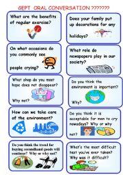 English Worksheet: GEPT ORAL CARDS-practice