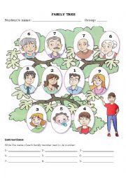 English Worksheet: Family tree