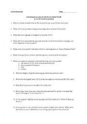 english worksheets an inconvenient truth comprehension assessment. Black Bedroom Furniture Sets. Home Design Ideas