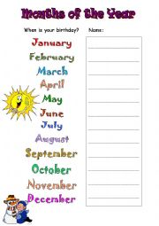 Months - When is your Birthday
