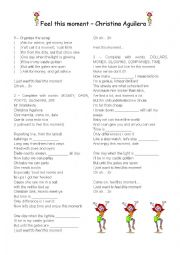 English Worksheet: Feel this moment - Christina Aguilera