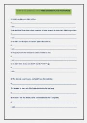 English Worksheet: THIRD CONDITIONAL AND WISH CLAUSES
