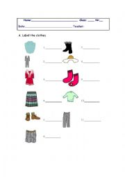Label the clothes