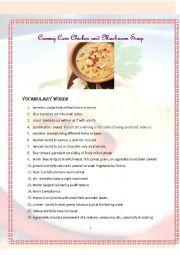 English Worksheet: ESL Cooking: Creamy Corn & Mushroom Soup