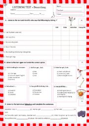 English Worksheet: listening test - describing (31.05.13) - no audio file for this one