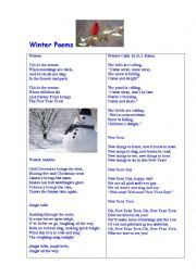 English Worksheet: Winter Poems + Questions
