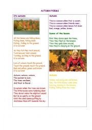 English Worksheet: Autumn Poems + Questions for a discussion