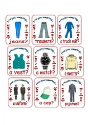 English Worksheet: Are You Wearing...? Go Fish 2/2