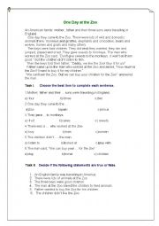 English Worksheet: One Day in the Zoo