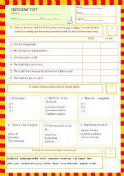 English Worksheet: listening test - My classroom (25.05.13)