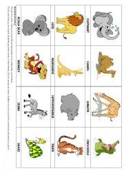 English Worksheet: Animal flashcards 1 & Game
