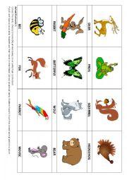 English Worksheet: Animal flashcards 2 & Game