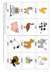 English Worksheet: Animal flashcards 3 & Game