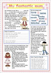 English Worksheet: My fantastic mum (+KEY)