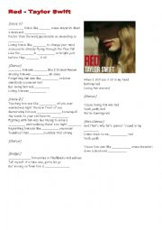 English Worksheet: Taylor Swift - Red (Comparative/Similes)