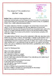 English Worksheet: Mother�s Day - The origins of the celebration