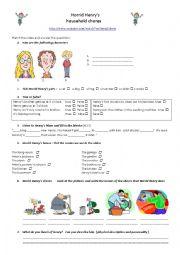 English Worksheet: Horrid Henry�s household chores