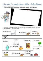 English Worksheet: Listening Comprehension - Make a Police Report (Link and script included)