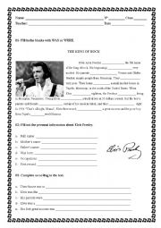 English Worksheet: Elvis Presley