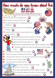 English Worksheet: How much do you know about the USA? - quiz *KEY included*