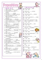 English Worksheet: Prepositions: ON-IN-AT