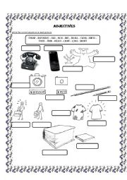 English Worksheet: Adjectives! Old-new cheap-expensive big-small thick-thin heavy-light long-short- fully editable!