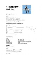 English Worksheet: Titanium  David Guetta