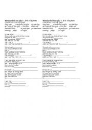 English Worksheet: Wonderful tonight - Eric Clapton