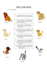 English Worksheet: The lion king