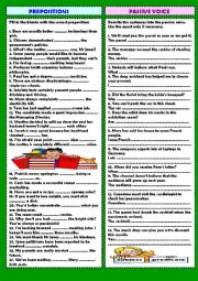 English Worksheet: Review 2: prepositions & passive voice (+ key)