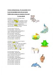 English Worksheet: Songs for kids: So Many Animals by Hi5