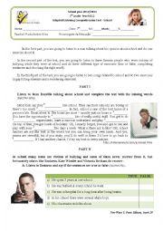 English Worksheet: school( adapted listening test)