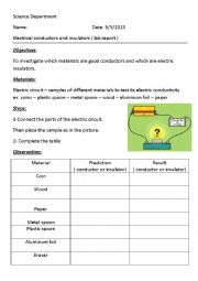 english worksheets electrical conductors and insulators. Black Bedroom Furniture Sets. Home Design Ideas