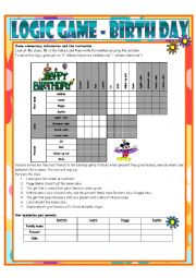 English Worksheet: Logic Game No. 13 - BIRTHDAY