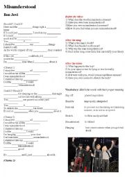 English Worksheet: Song activity Misunderstood Bon Jovi