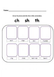 ch sh and th words. Digraphs - ESL worksheet by kebabsalad