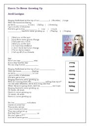 English Worksheet: Worksheet - Here´s To Never Growing Up - Avril Lavigne