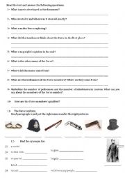 English Worksheet: Written comprehension The Metropolitan police (questions)