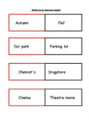 English Worksheet: British vs American English activities