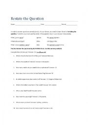 English worksheets: Restate the Question