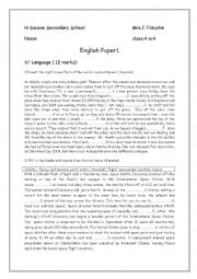 English Worksheet: test 1 term1 ( 4th form)