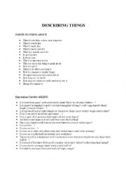 English Worksheet: describing things