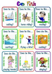 English Worksheet: Go fish - Does (s)he like ...? (1/2)