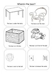 English Worksheet: Prepositions - under, on, in, in front, next to, between