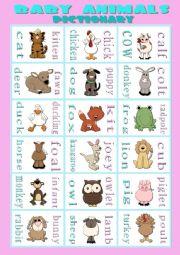 English Worksheet: BABY ANIMALS - pictionary