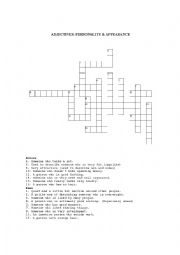English Worksheet: ADJECTIVES CROSSWORD: PERSONALITY & APPEARANCE