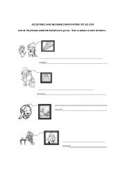 English Worksheet: Accepting and refusing invitations to go out