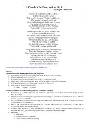 English Worksheet: That couldn�t be done and he did it