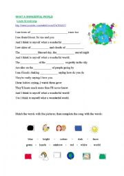 English Worksheet: What a Wonderful World-Louis Amstrong